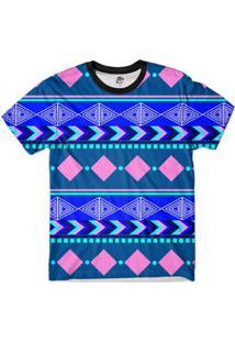 Camiseta Bsc Tribal Setas Full Print - Masculino-Azul