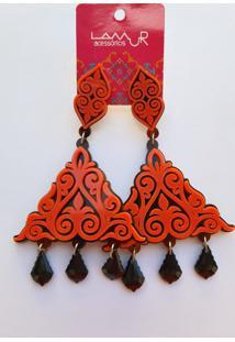 Brinco De Acrílico Triângulo Arabesco E Pedras - Laranja - Kanui