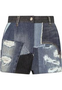Dolce & Gabbana Bermuda Jeans Com Patchwork E Efeito Destroyed - Azul