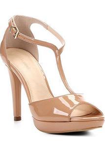 Sandália Shoestock Meia Pata Salomé Feminina - Feminino-Nude