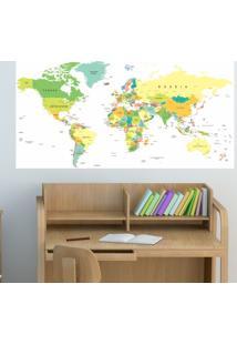 Adesivo Mapa Do Mundo Colorido