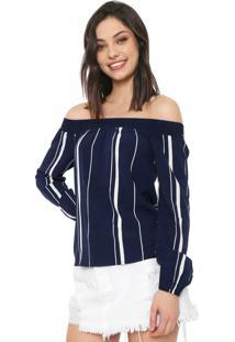 Blusa Cativa Ombro A Ombro Listrada Azul-Marinho/Branca - Kanui