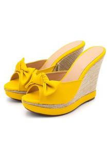 Sandália Tamanco Anabela Salto Alto Amarelo