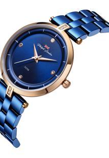 Relógio Philiph London Pl81016113F Azul E Rosê