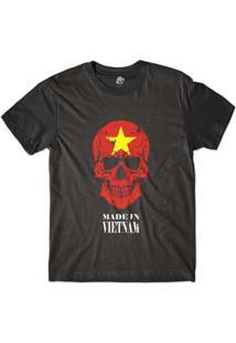 Camiseta Bsc Caveira País Vietnam Sublimada Masculina - Masculino-Preto