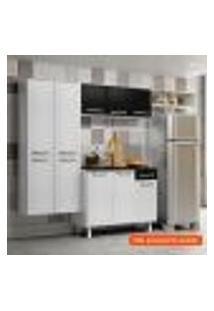 Cozinha Compacta Topázio 7 Pt Branca E Preta
