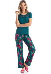 Pijama Daniela Mg Curta - O469 Verde/P