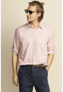 Camisa Manga Longa Masculina Regular Em Tecido De Algodão