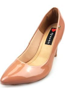 Scarpin Love Shoes Bico Fino Alto Verniz Nude Pele
