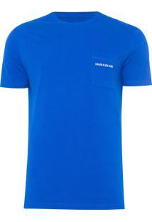 Camiseta Masculina Bolso Tórax - Azul