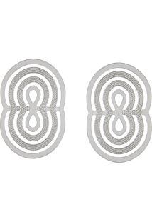 Brinco Narcizza Semijoias Oval Transpassado - Ródio