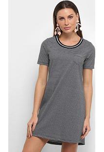 Vestido Blusão Lecimar Listrado Bolso - Feminino-Preto