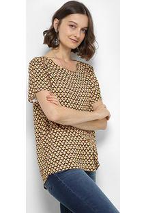 7412a3014 R$ 159,99. Zattini Blusa Estampada Geométrica Colcci Manga Curta Feminina -  Feminino-Marrom+Amarelo