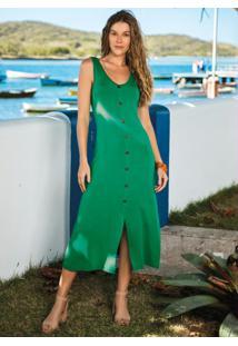 Vestido Verde Midi Sem Mangas Com Botões