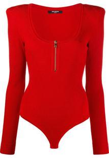 Balmain Body De Tricô Com Decote Em U - Vermelho