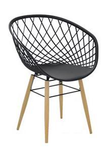 Cadeira Sidera Em Poliamida Com Pernas De Madeira Preta - Tramontina