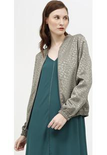 Jaqueta Texturizada Com Elã¡Stico- Verde- Nemnem