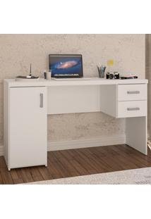 Mesa Para Computador Miranda 1 Porta 2 Gavetas Branco Bp - Politorno