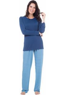 Pijama Longo Malha Homewear Azul - 589.0711 Marcyn Lingerie Pijamas Azul
