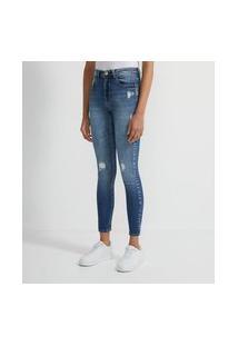 Calça Skinny Jeans Com Puídos