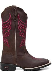 Bota Ellest Texana Country Bordado Exclusivo Feminina - Feminino-Café