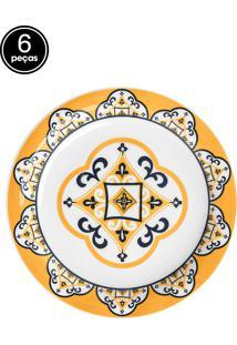 Conjunto Pratos Sobremesa 20Cm 6Pçs Floreal Sao Luis Branco