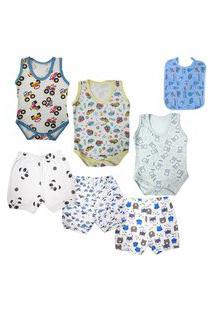 Kit Para Enxoval Roupa De Bebê 7 Peças Menino Menina Verão Azul