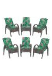 Cadeiras 6Un P/ Jardim Lazer Edicula Varanda Descanso Fibra E Tramas Napoli Plus Tabaco A01