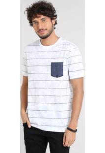 Camiseta Masculina Listrada Floral Com Bolso Manga Curta Gola Careca Off White