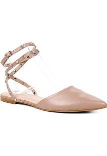 Sapatilha Couro Shoestock Bico Fino Rebite Strass Feminina - Feminino-Nude