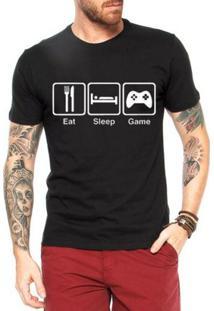 Camiseta Criativa Urbana Eat Sleep And Games - Masculino-Preto