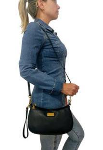 Bolsa Carteira Couro Clutch Topgrife Transversal Feminina - Feminino-Preto