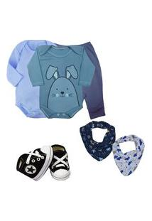 Presente De Bebê 6Pçs Enxoval Menino Menina Maternidade Azul