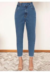 Calça Jeans Cintura Alta E Barra Desfiada