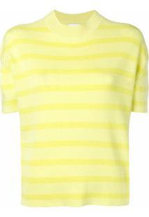Barrie Suéter Listrado Mangas Curtas - Amarelo