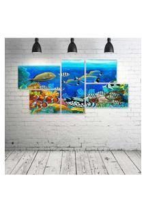 Quadro Decorativo - Sea-Seabed-Fish-Corals-Underwater-Ocean - Composto De 5 Quadros