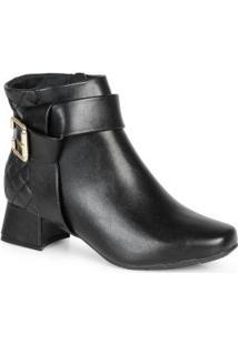 Ankle Boots Feminina Nó Matelassê Preto