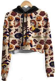 Blusa Cropped Moletom Feminina Over Fame Halloween Md01 - Bege - Feminino - Poliã©Ster - Dafiti