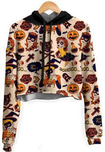 Blusa Cropped Moletom Feminina Over Fame Halloween Md01