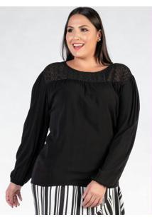 Blusa Plus Size Preta Com Recorte Bordado9898