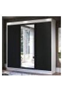 Guarda-Roupa Casal Madesa Istambul 3 Portas De Correr Com Espelho 3 Gavetas - Branco/Preto