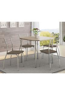 Mesa 1510 Nogueira Cromada Com 4 Cadeiras 1700 Camurça Conhaque Carraro