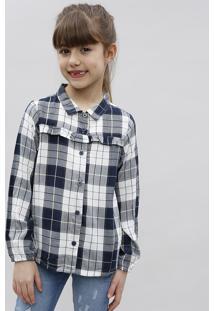 Camisa Infantil Estampada Xadrez Com Brilho E Babado Manga Longa Azul Marinho