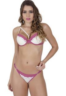 Conjunto Click Chique Strappy Bra Luxo Rendado Rosa
