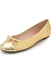 4e00314ec0b Sapatilha Dourada Moleca feminina