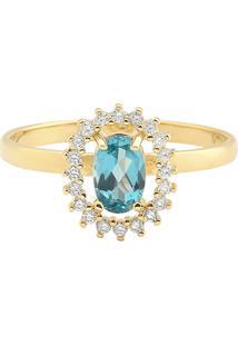 Anel Ouro Amarelo Apatita E Diamantes