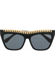 Stella Mccartney Eyewear Chain Square-Frame Sunglasses - Preto