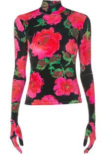 Richard Quinn Floral Print Glove Style Top - Preto