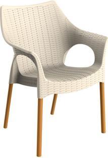 Cadeira Relic Com Braço Marzipan E Madeira