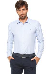 Camisa Aleatory Slim Padronagem Azul